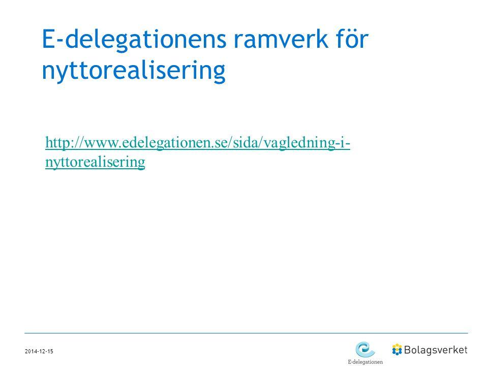 E-delegationens ramverk för nyttorealisering 2014-12-15 http://www.edelegationen.se/sida/vagledning-i- nyttorealisering