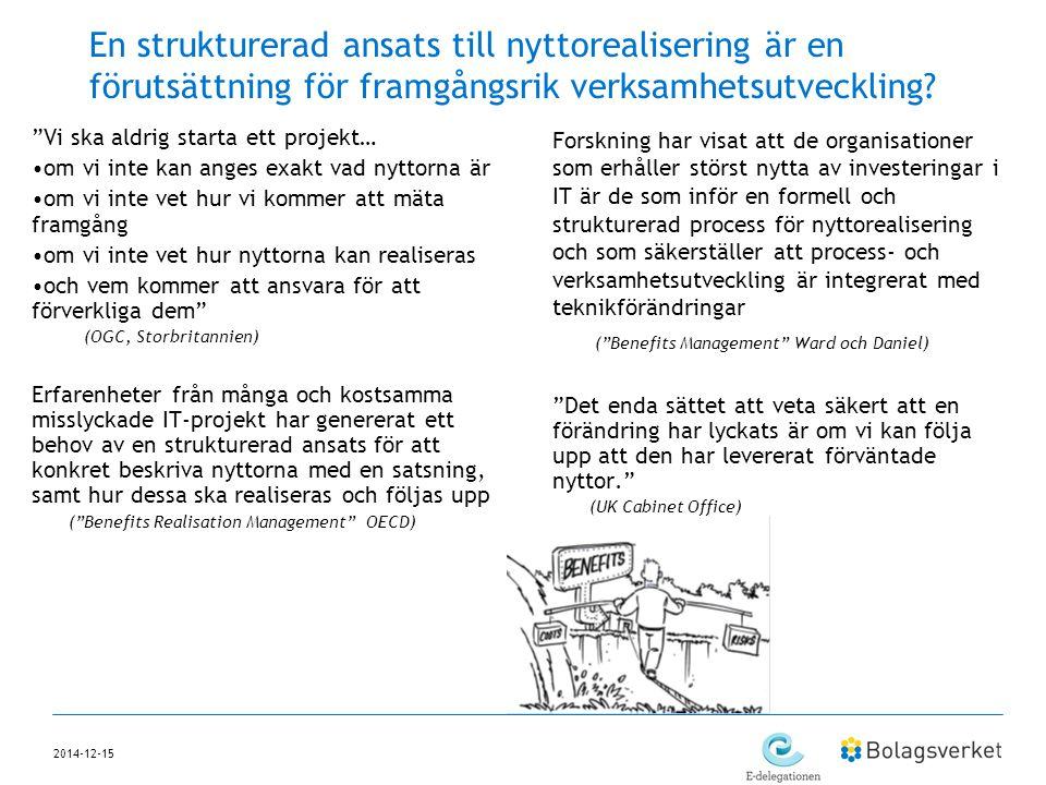 """2014-12-15 En strukturerad ansats till nyttorealisering är en förutsättning för framgångsrik verksamhetsutveckling? """"Vi ska aldrig starta ett projekt…"""