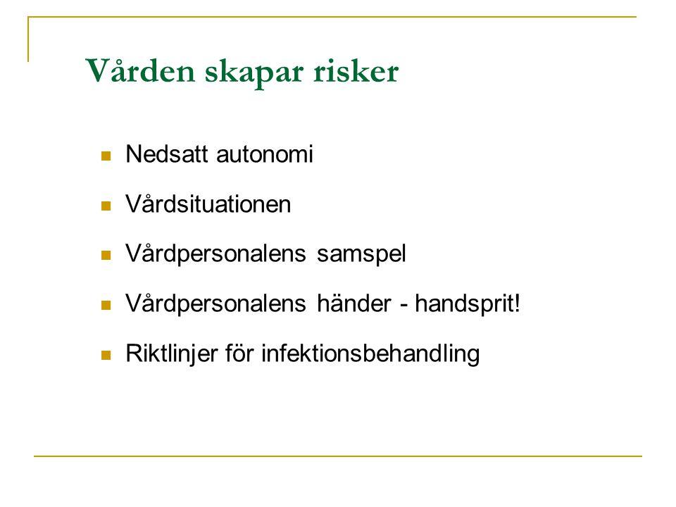 Vården skapar risker Nedsatt autonomi Vårdsituationen Vårdpersonalens samspel Vårdpersonalens händer - handsprit.