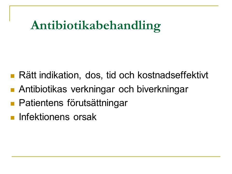 Antibiotikabehandling Rätt indikation, dos, tid och kostnadseffektivt Antibiotikas verkningar och biverkningar Patientens förutsättningar Infektionens orsak
