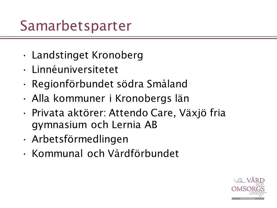 Samarbetsparter Landstinget Kronoberg Linnéuniversitetet Regionförbundet södra Småland Alla kommuner i Kronobergs län Privata aktörer: Attendo Care, V
