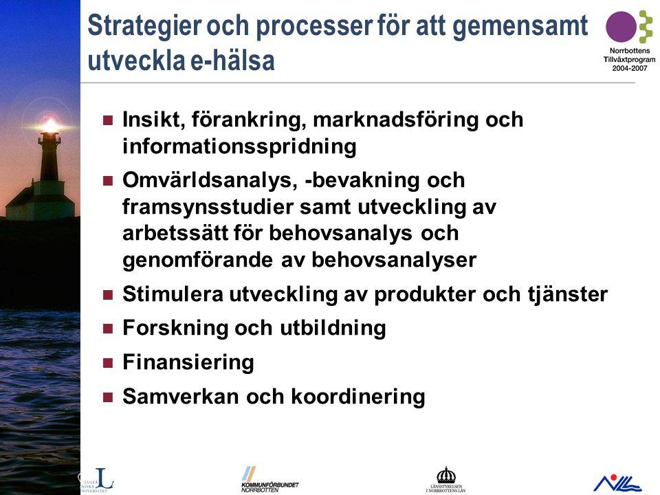 Bild 12 Strategier och processer för att gemensamt utveckla e-hälsa Insikt, förankring, marknadsföring och informationsspridning Omvärldsanalys, -bevakning och framsynsstudier samt utveckling av arbetssätt för behovsanalys och genomförande av behovsanalyser Stimulera utveckling av produkter och tjänster Forskning och utbildning Finansiering Samverkan och koordinering