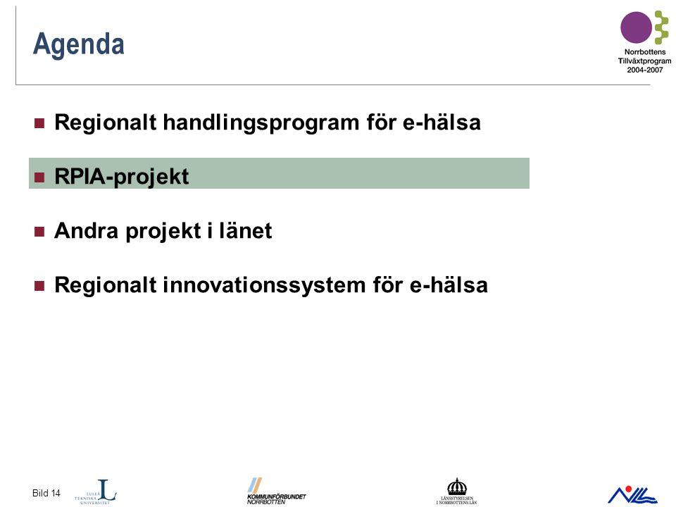 Bild 14 Agenda Regionalt handlingsprogram för e-hälsa RPIA-projekt Andra projekt i länet Regionalt innovationssystem för e-hälsa