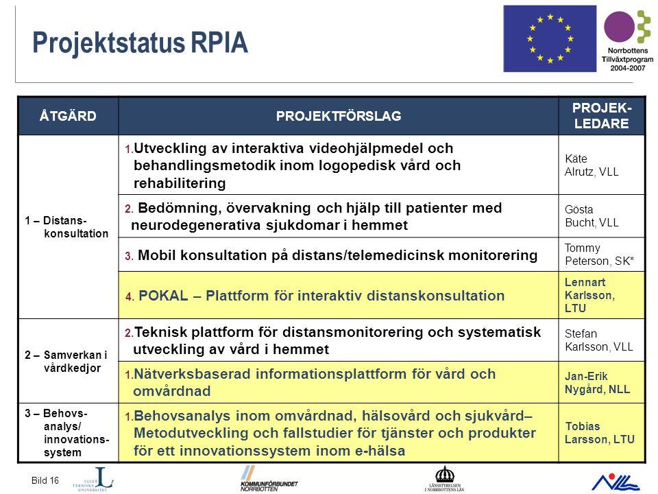 Bild 16 Projektstatus RPIA ÅTGÄRDPROJEKTFÖRSLAG PROJEK- LEDARE 1 – Distans- konsultation 1.