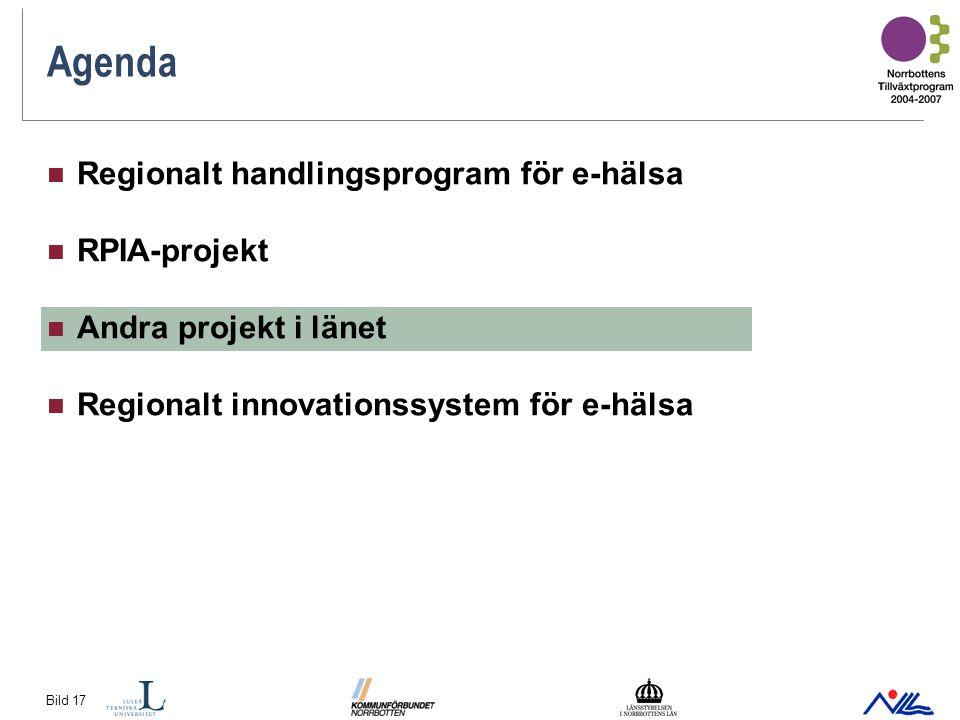 Bild 17 Agenda Regionalt handlingsprogram för e-hälsa RPIA-projekt Andra projekt i länet Regionalt innovationssystem för e-hälsa