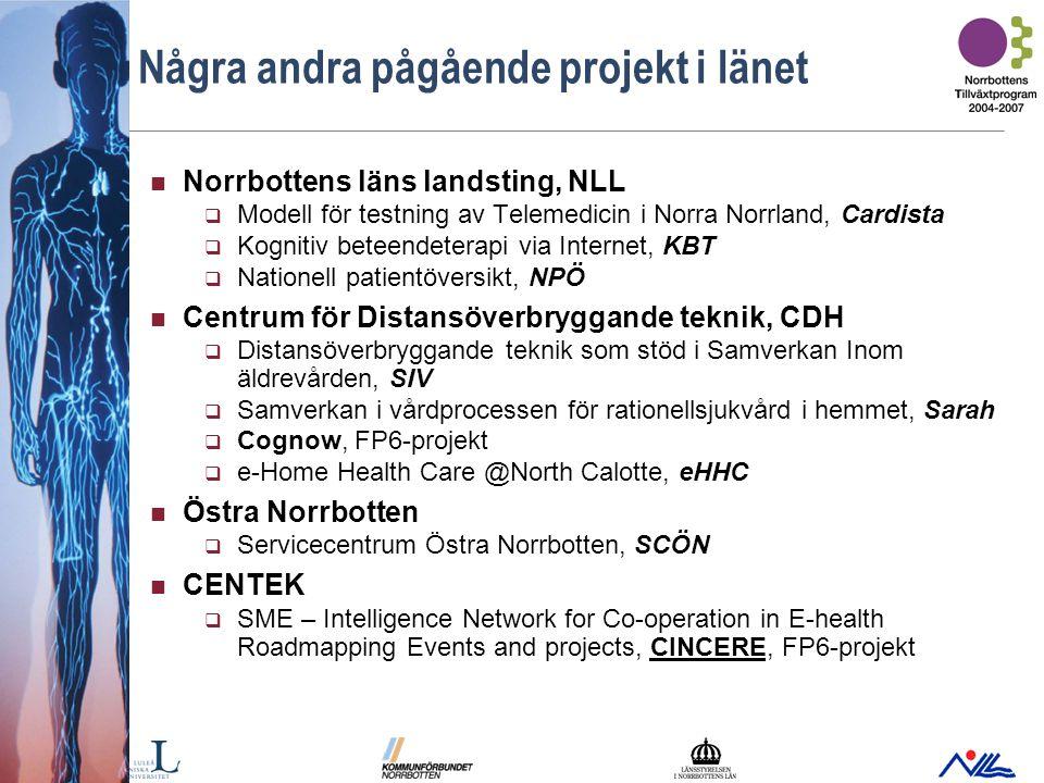 Bild 18 Några andra pågående projekt i länet Norrbottens läns landsting, NLL  Modell för testning av Telemedicin i Norra Norrland, Cardista  Kognitiv beteendeterapi via Internet, KBT  Nationell patientöversikt, NPÖ Centrum för Distansöverbryggande teknik, CDH  Distansöverbryggande teknik som stöd i Samverkan Inom äldrevården, SIV  Samverkan i vårdprocessen för rationellsjukvård i hemmet, Sarah  Cognow, FP6-projekt  e-Home Health Care @North Calotte, eHHC Östra Norrbotten  Servicecentrum Östra Norrbotten, SCÖN CENTEK  SME – Intelligence Network for Co-operation in E-health Roadmapping Events and projects, CINCERE, FP6-projekt