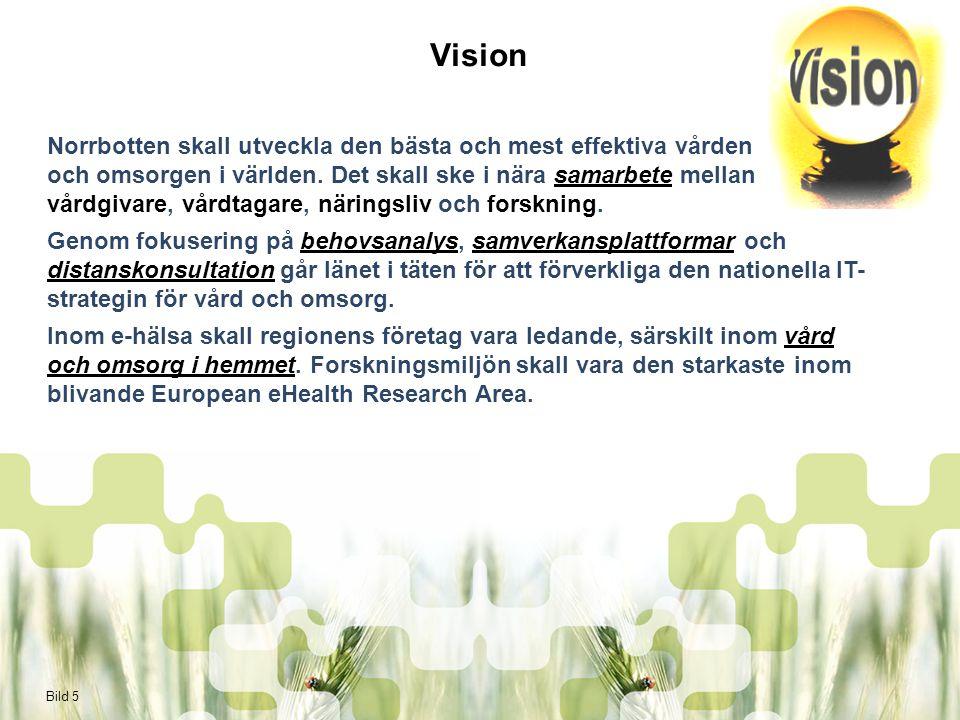 Bild 6 Mål med handlingsprogrammet Ökad tillväxt och sysselsättning  Utveckling av efterfrågestyrda varor och tjänster för en internationell marknad Utveckla hälso- och sjukvården för att tillfredsställa ökande patientkrav  Effektivitet  Kvalitet  Flexibilitet  Allas rätt till lika vård oavsett bostadsort Utveckla lösningar som medför lägre kostnader och/eller motverkar kostnadsökningar  Landsting  Kommun  Andra vårdgivare