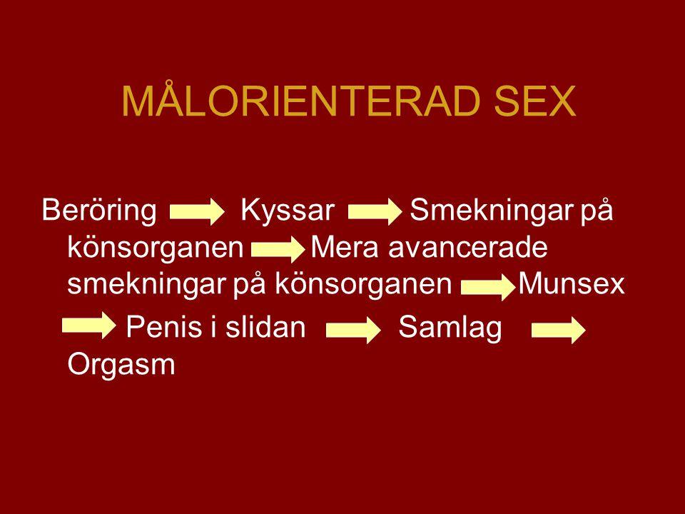 MÅLORIENTERAD SEX Beröring Kyssar Smekningar på könsorganen Mera avancerade smekningar på könsorganen Munsex Penis i slidan Samlag Orgasm