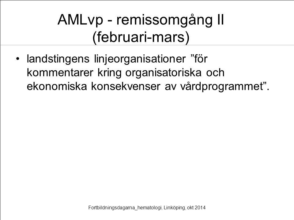 """AMLvp - remissomgång II (februari-mars) landstingens linjeorganisationer """"för kommentarer kring organisatoriska och ekonomiska konsekvenser av vårdpro"""
