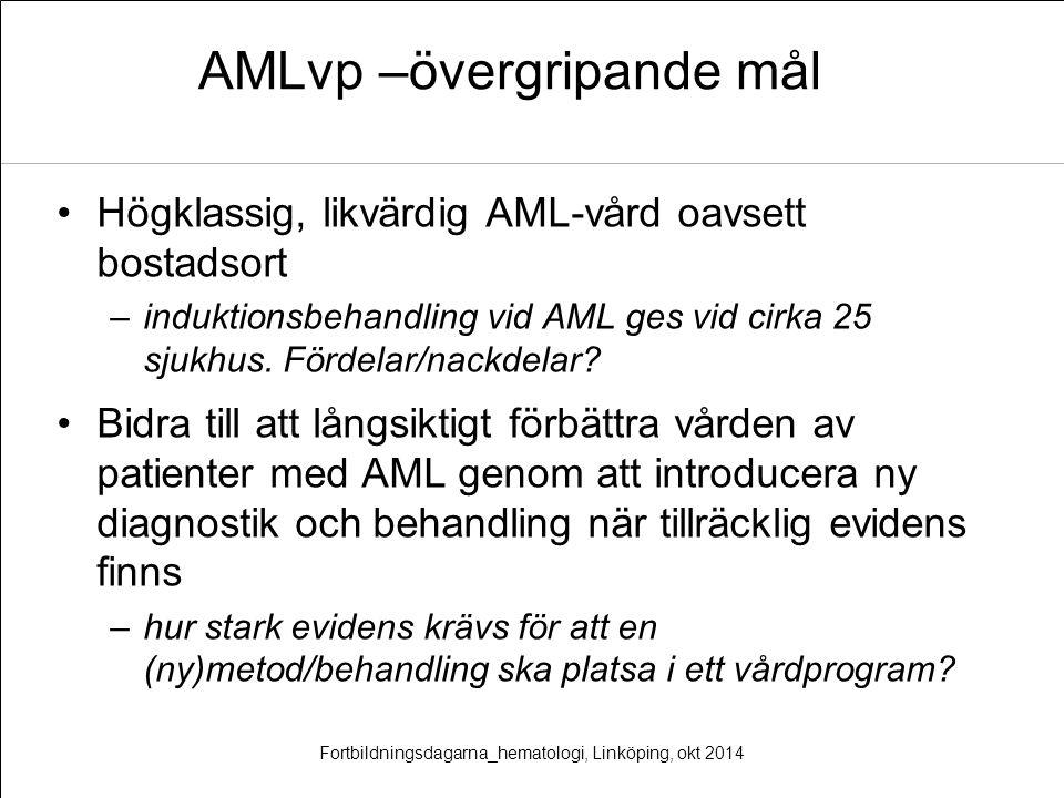 AMLvp –övergripande mål Högklassig, likvärdig AML-vård oavsett bostadsort –induktionsbehandling vid AML ges vid cirka 25 sjukhus. Fördelar/nackdelar?