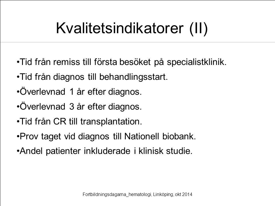 Kvalitetsindikatorer (II) Tid från remiss till första besöket på specialistklinik. Tid från diagnos till behandlingsstart. Överlevnad 1 år efter diagn