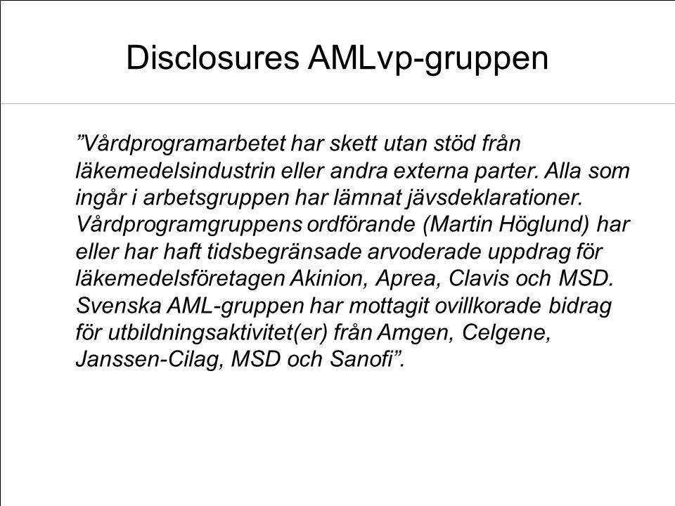 """Disclosures AMLvp-gruppen """"Vårdprogramarbetet har skett utan stöd från läkemedelsindustrin eller andra externa parter. Alla som ingår i arbetsgruppen"""