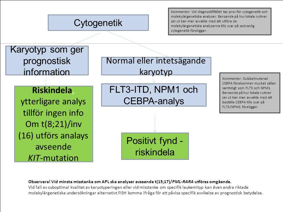 Cytogenetik Karyotyp som ger prognostisk information Riskindela, ytterligare analys tillför ingen info Om t(8;21)/inv (16) utförs analays avseende KIT