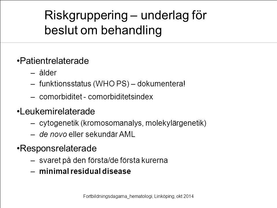 Riskgruppering – underlag för beslut om behandling Patientrelaterade –ålder –funktionsstatus (WHO PS) – dokumentera! –comorbiditet - comorbiditetsinde