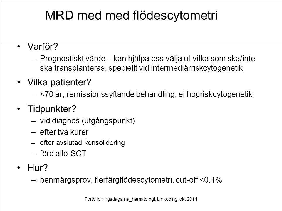 MRD med med flödescytometri Varför? –Prognostiskt värde – kan hjälpa oss välja ut vilka som ska/inte ska transplanteras, speciellt vid intermediärrisk
