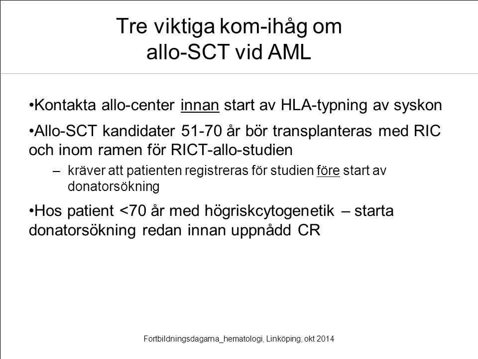 Tre viktiga kom-ihåg om allo-SCT vid AML Kontakta allo-center innan start av HLA-typning av syskon Allo-SCT kandidater 51-70 år bör transplanteras med