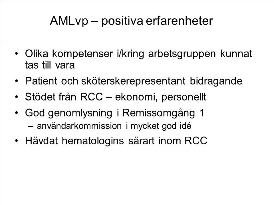 AMLvp – positiva erfarenheter Olika kompetenser i/kring arbetsgruppen kunnat tas till vara Patient och sköterskerepresentant bidragande Stödet från RC