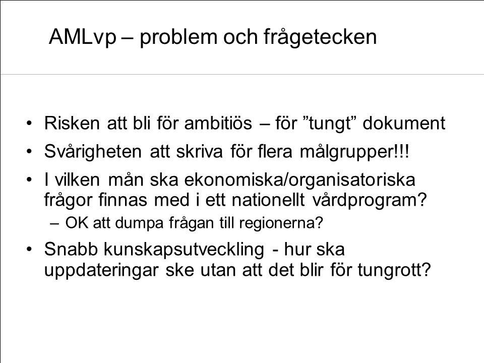 """AMLvp – problem och frågetecken Risken att bli för ambitiös – för """"tungt"""" dokument Svårigheten att skriva för flera målgrupper!!! I vilken mån ska eko"""