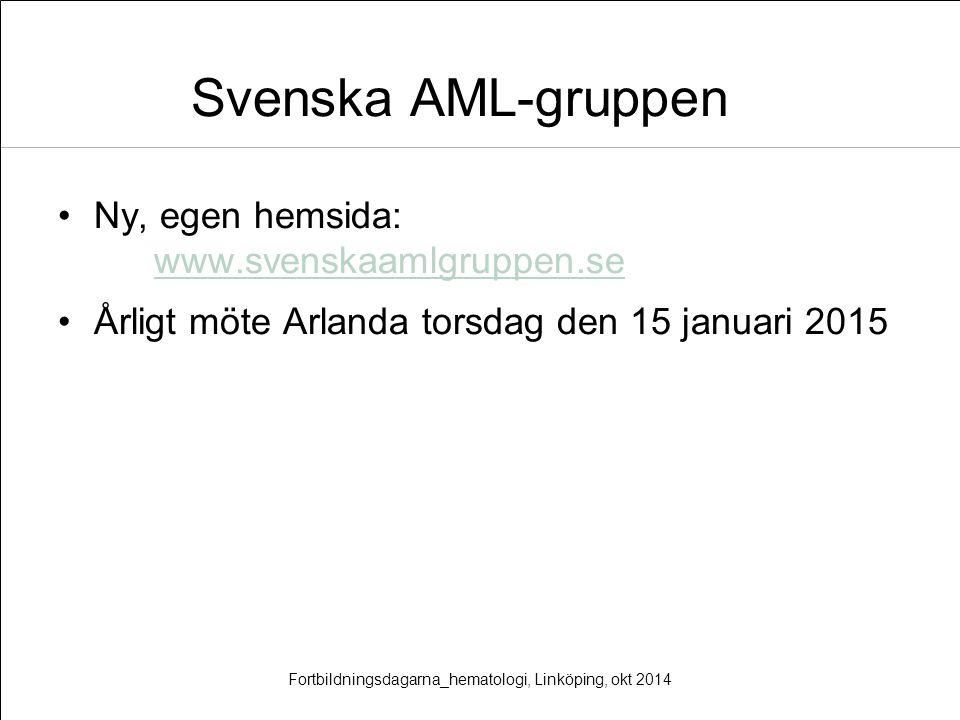 Svenska AML-gruppen Ny, egen hemsida: www.svenskaamlgruppen.se www.svenskaamlgruppen.se Årligt möte Arlanda torsdag den 15 januari 2015 Fortbildningsd
