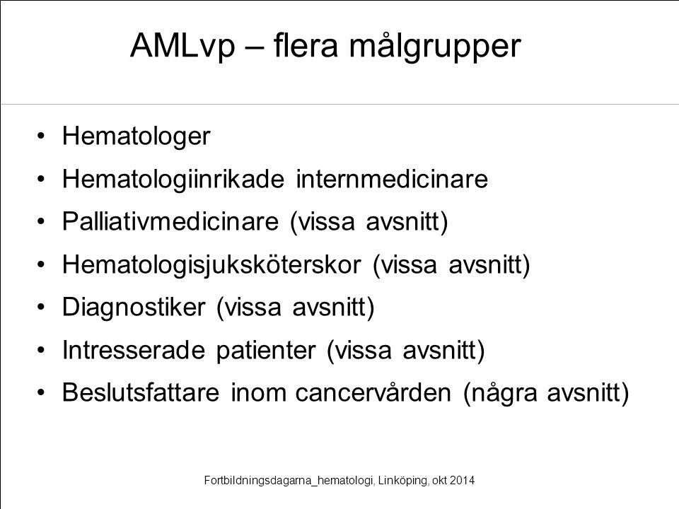 AMLvp – flera målgrupper Hematologer Hematologiinrikade internmedicinare Palliativmedicinare (vissa avsnitt) Hematologisjuksköterskor (vissa avsnitt)