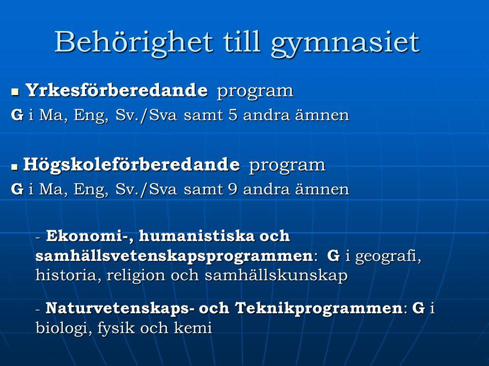Behörighet till gymnasiet Yrkesförberedande program Yrkesförberedande program G i Ma, Eng, Sv./Sva samt 5 andra ämnen Högskoleförberedande program Hög