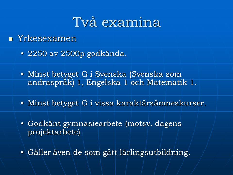 Två examina Yrkesexamen Yrkesexamen 2250 av 2500p godkända.2250 av 2500p godkända. Minst betyget G i Svenska (Svenska som andraspråk) 1, Engelska 1 oc