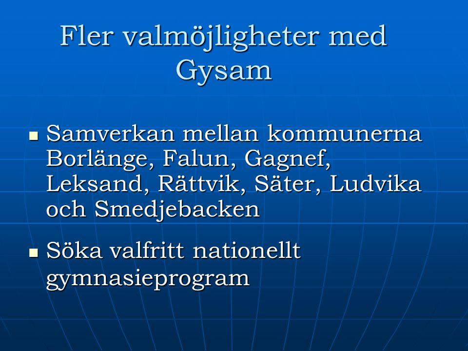 Fler valmöjligheter med Gysam Samverkan mellan kommunerna Borlänge, Falun, Gagnef, Leksand, Rättvik, Säter, Ludvika och Smedjebacken Samverkan mellan