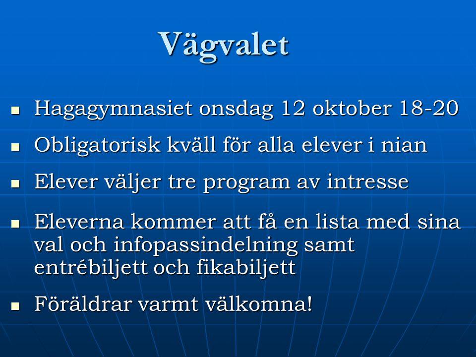 Vägvalet Hagagymnasiet onsdag 12 oktober 18-20 Hagagymnasiet onsdag 12 oktober 18-20 Obligatorisk kväll för alla elever i nian Obligatorisk kväll för