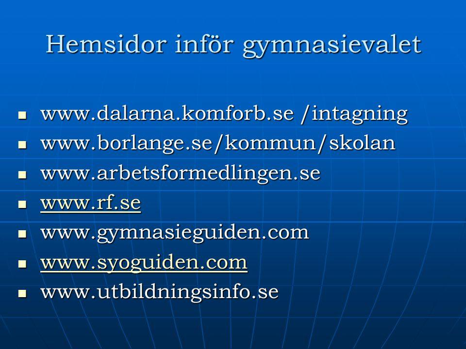 Hemsidor inför gymnasievalet www.dalarna.komforb.se /intagning www.dalarna.komforb.se /intagning www.borlange.se/kommun/skolan www.borlange.se/kommun/