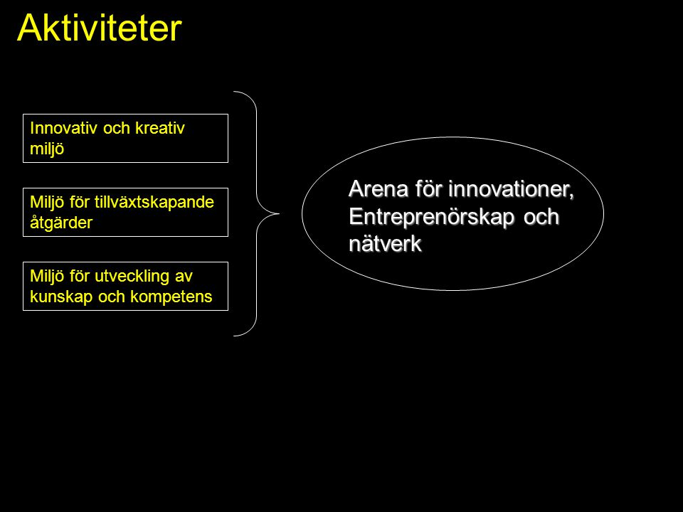 Aktiviteter Innovativ och kreativ miljö Arena för innovationer, Entreprenörskap och nätverk Miljö för utveckling av kunskap och kompetens Miljö för ti