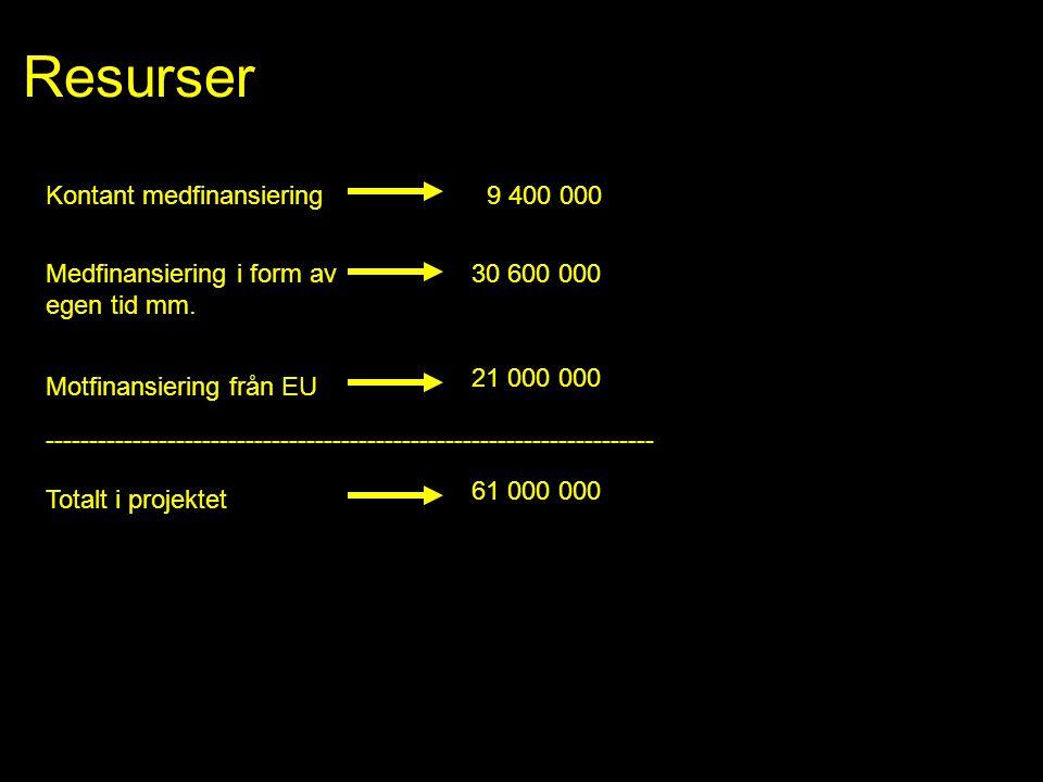Resurser Kontant medfinansiering Medfinansiering i form av egen tid mm. 9 400 000 30 600 000 Motfinansiering från EU 21 000 000 Totalt i projektet 61