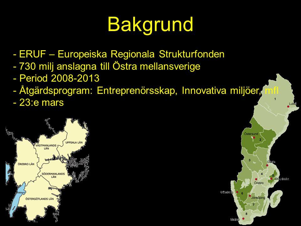 Bakgrund - ERUF – Europeiska Regionala Strukturfonden - 730 milj anslagna till Östra mellansverige - Period 2008-2013 - Åtgärdsprogram: Entreprenörssk