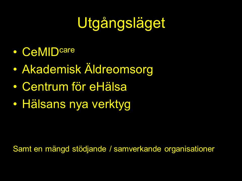 Utgångsläget CeMID care Akademisk Äldreomsorg Centrum för eHälsa Hälsans nya verktyg Samt en mängd stödjande / samverkande organisationer