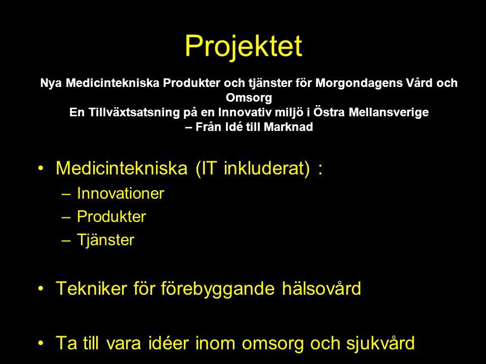 Projektet Medicintekniska (IT inkluderat) : –Innovationer –Produkter –Tjänster Tekniker för förebyggande hälsovård Ta till vara idéer inom omsorg och