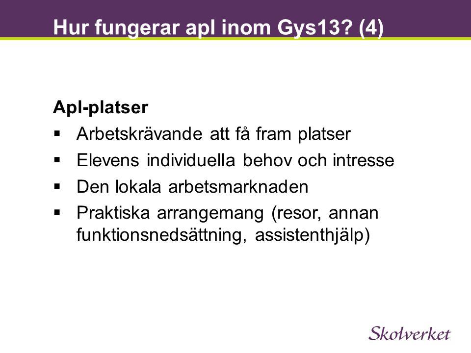 Hur fungerar apl inom Gys13? (4) Apl-platser  Arbetskrävande att få fram platser  Elevens individuella behov och intresse  Den lokala arbetsmarknad