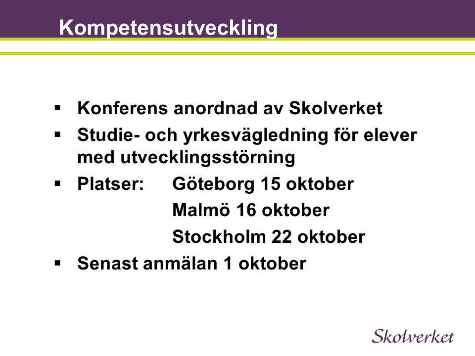 Kompetensutveckling  Konferens anordnad av Skolverket  Studie- och yrkesvägledning för elever med utvecklingsstörning  Platser:Göteborg 15 oktober