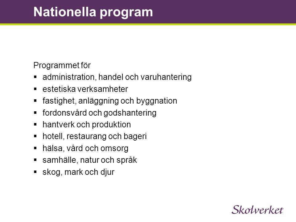 Programmet för  administration, handel och varuhantering  estetiska verksamheter  fastighet, anläggning och byggnation  fordonsvård och godshanter