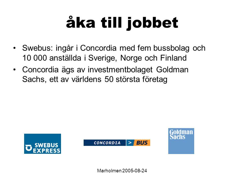 Marholmen 2005-08-24 åka till jobbet Swebus: ingår i Concordia med fem bussbolag och 10 000 anställda i Sverige, Norge och Finland Concordia ägs av investmentbolaget Goldman Sachs, ett av världens 50 största företag