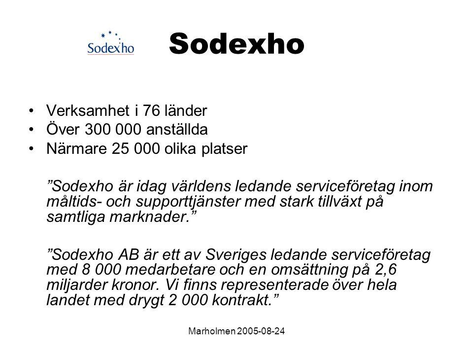 Marholmen 2005-08-24 Sodexho Verksamhet i 76 länder Över 300 000 anställda Närmare 25 000 olika platser Sodexho är idag världens ledande serviceföretag inom måltids- och supporttjänster med stark tillväxt på samtliga marknader. Sodexho AB är ett av Sveriges ledande serviceföretag med 8 000 medarbetare och en omsättning på 2,6 miljarder kronor.