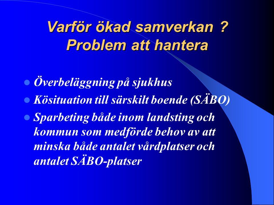 Varför ökad samverkan ? Problem att hantera Överbeläggning på sjukhus Kösituation till särskilt boende (SÄBO) Sparbeting både inom landsting och kommu