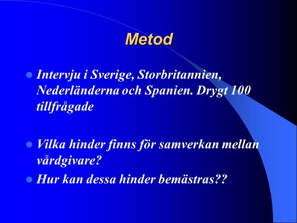 Metod Intervju i Sverige, Storbritannien, Nederländerna och Spanien. Drygt 100 tillfrågade Vilka hinder finns för samverkan mellan vårdgivare? Hur kan