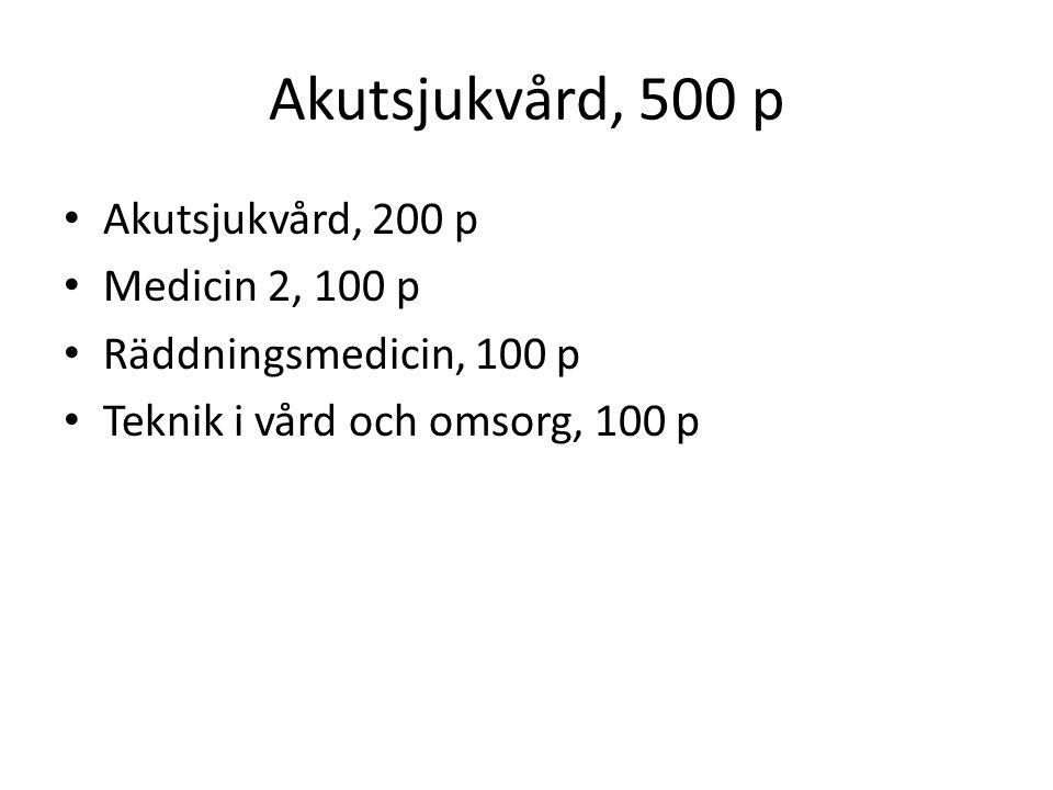 Akutsjukvård, 500 p Akutsjukvård, 200 p Medicin 2, 100 p Räddningsmedicin, 100 p Teknik i vård och omsorg, 100 p
