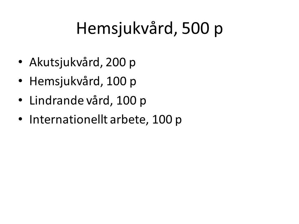 Hemsjukvård, 500 p Akutsjukvård, 200 p Hemsjukvård, 100 p Lindrande vård, 100 p Internationellt arbete, 100 p