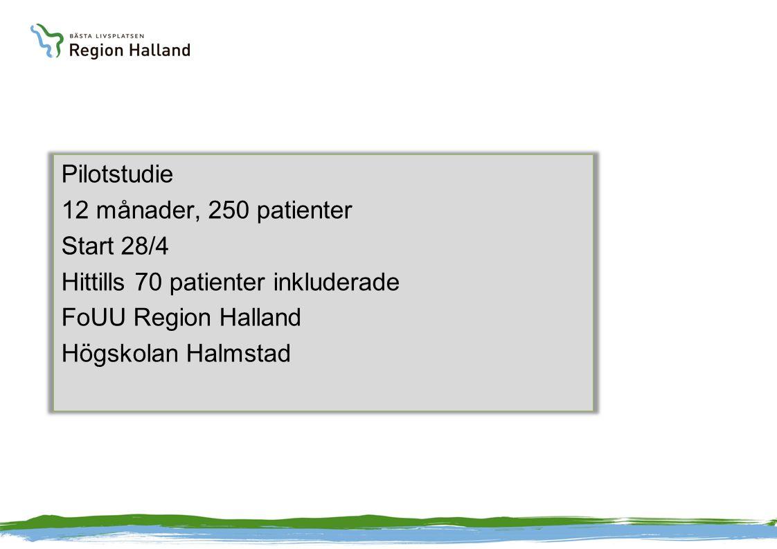 Pilotstudie 12 månader, 250 patienter Start 28/4 Hittills 70 patienter inkluderade FoUU Region Halland Högskolan Halmstad