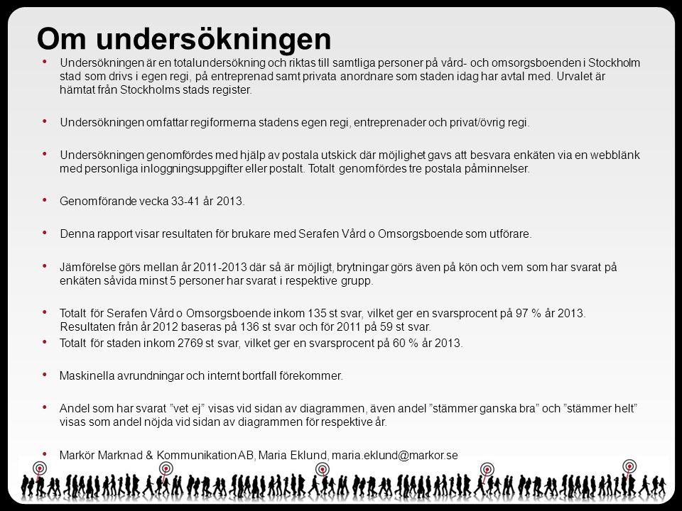 Om undersökningen Undersökningen är en totalundersökning och riktas till samtliga personer på vård- och omsorgsboenden i Stockholm stad som drivs i eg