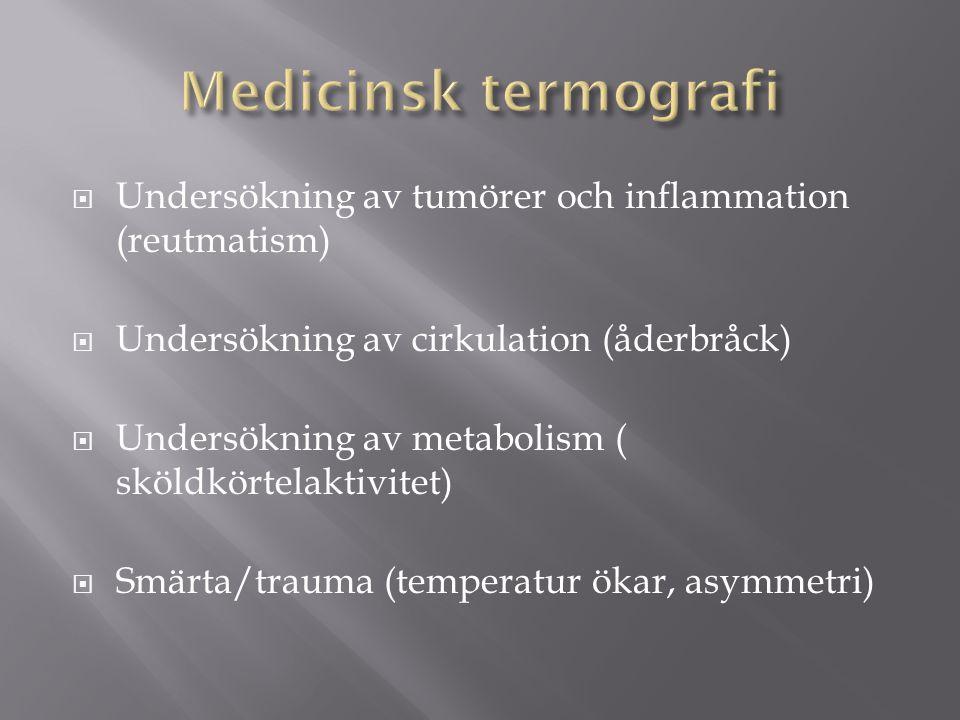  Undersökning av tumörer och inflammation (reutmatism)  Undersökning av cirkulation (åderbråck)  Undersökning av metabolism ( sköldkörtelaktivitet)  Smärta/trauma (temperatur ökar, asymmetri)