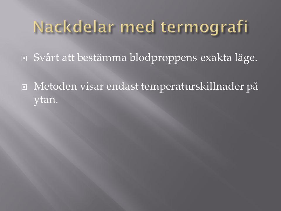  Svårt att bestämma blodproppens exakta läge.  Metoden visar endast temperaturskillnader på ytan.