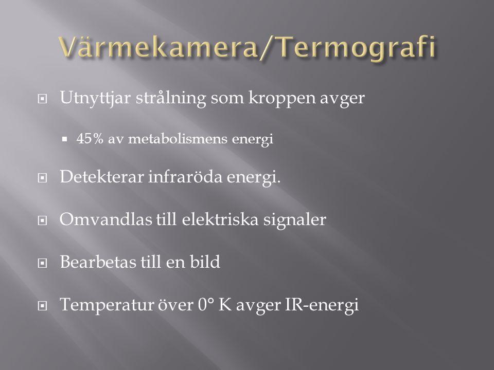  Utnyttjar strålning som kroppen avger  45% av metabolismens energi  Detekterar infraröda energi.  Omvandlas till elektriska signaler  Bearbetas