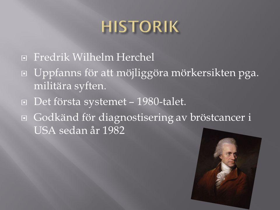  Fredrik Wilhelm Herchel  Uppfanns för att möjliggöra mörkersikten pga. militära syften.  Det första systemet – 1980-talet.  Godkänd för diagnosti