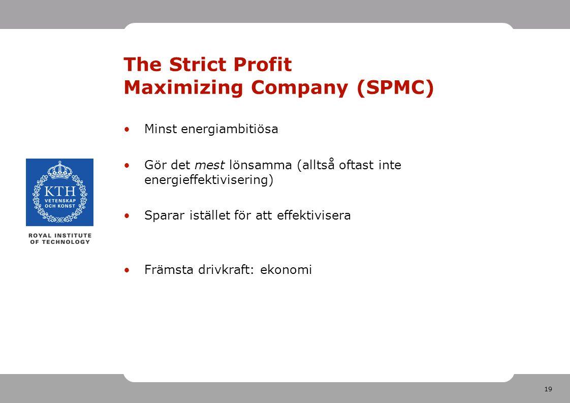 19 The Strict Profit Maximizing Company (SPMC) Minst energiambitiösa Gör det mest lönsamma (alltså oftast inte energieffektivisering) Sparar istället för att effektivisera Främsta drivkraft: ekonomi